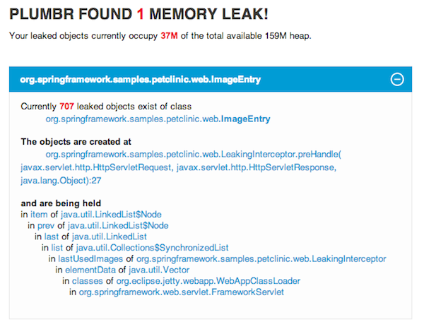 Memory leak location