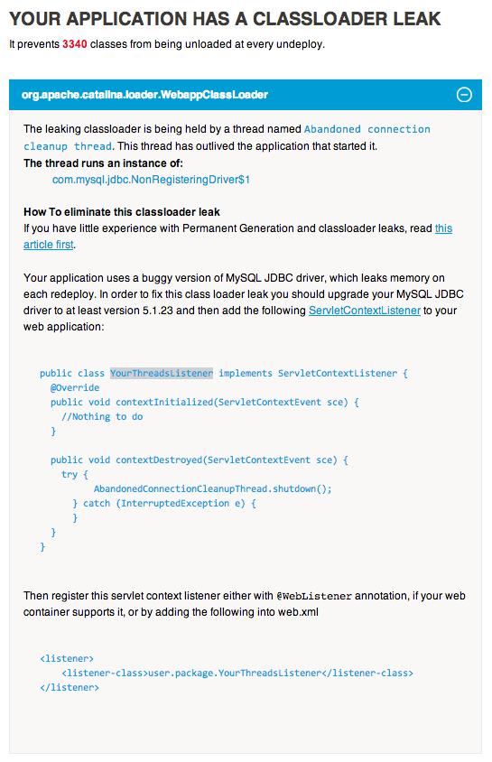 Solution for Java memory leak