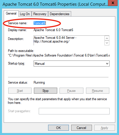 windows service - embedded tomcat properties