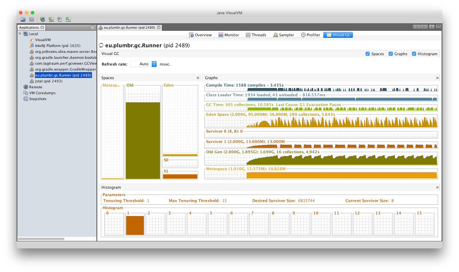 GC monitoring with JVisualVM