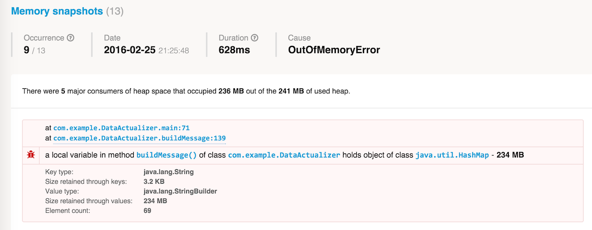 what was in memory during outofmemoryerror